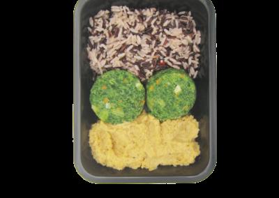 mix risi con hummus di ceci e polpette verdure